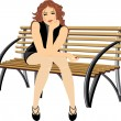 Beautiful woman sitting on the wooden bench - Stock Vector