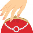 Stylish red female purse — Stock Vector