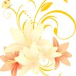 Lilies with floral ornament and butterflies - Stock Vector