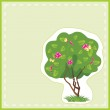 Stylized flowering tree with butterflies in the frame. Card — Stock Vector