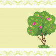 Stylized flowering tree with butterflies in the frame — Stock Vector