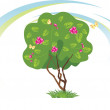 Stylized flowering tree with butterflies — Stock Vector