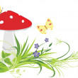 Fly agaric mushroom, flowers and butterflies — Stock Vector