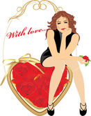 Beautiful woman sitting on the heart with red roses. Valentines card — Stock Vector