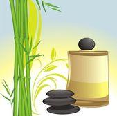 Huile spa, pierres noires et bambou vert — Vecteur