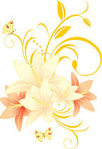 Lilies with floral ornament and butterflies — Stock Vector