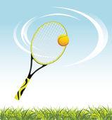 Tennis racket with ball above a grass — Stock Vector