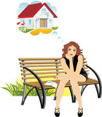 Dreams about a private house — Stock Vector