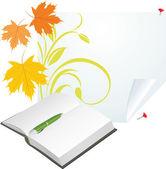 Saf sayfasında defter, kalem ve akçaağaç yaprakları — Stok Vektör