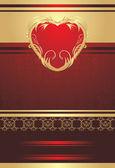 休日の折り返しの背景に装飾的な赤いハート — ストックベクタ