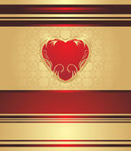 Red heart on the decorative background for holiday wrapping — Cтоковый вектор