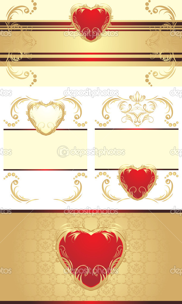 Decorative borders with hearts for festive cards. Vector illustration — Stock Vector #6633583