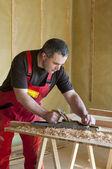 龙门刨床的木匠工作 — 图库照片