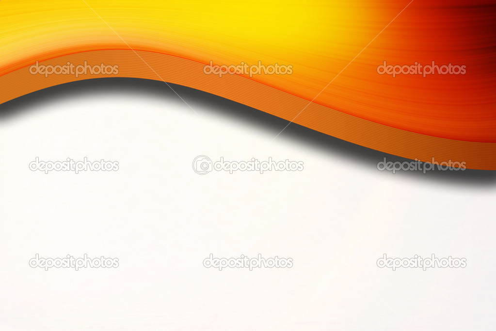 Orange dynamic wave over white background. Abstract illustration  Stock Photo #5744608