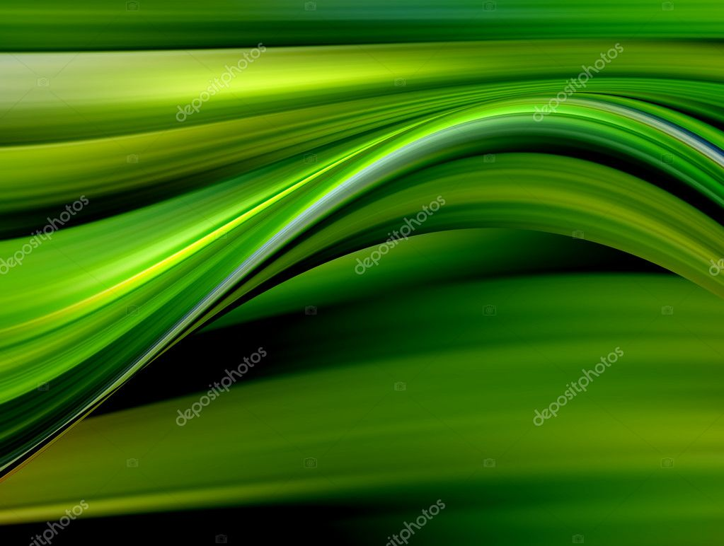 Yellow and green dynamic waves in a black background. Abstract illustration — Stock Photo #5749442