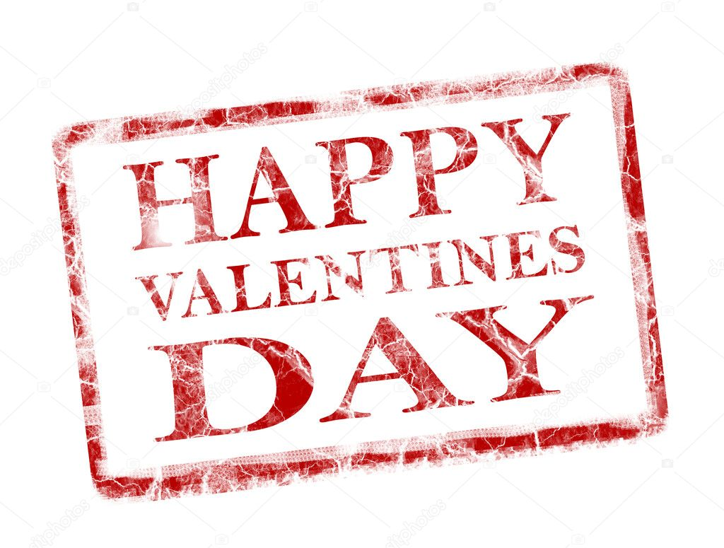 Happy valentines day stamp on white background — Foto Stock #5753000