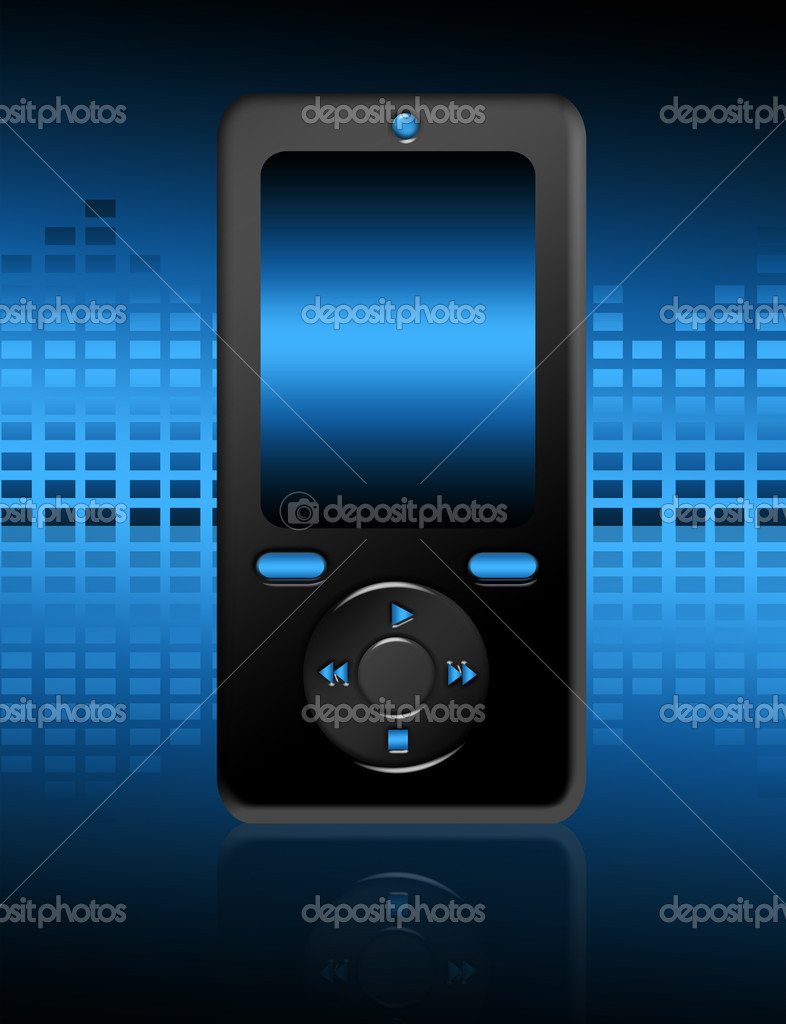 Black and blue cellphone over blue background.illustration  Stock Photo #5782937