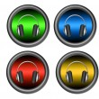 Headphones buttons - Stock Photo