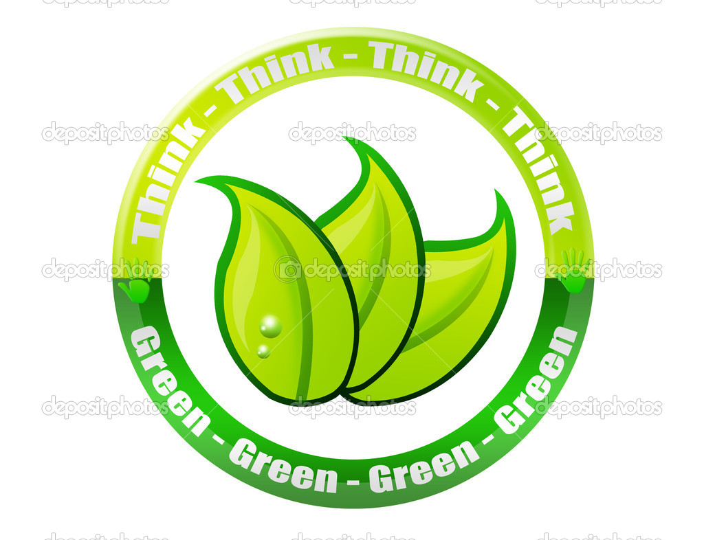 Green and white think green button isolated over white background  Stock Photo #6291052