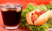 Hot dog and drink — Stock Photo