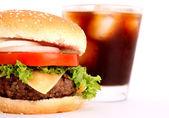 Hamburger and drink — Stock Photo