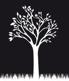 Black and white tree — Stock Vector