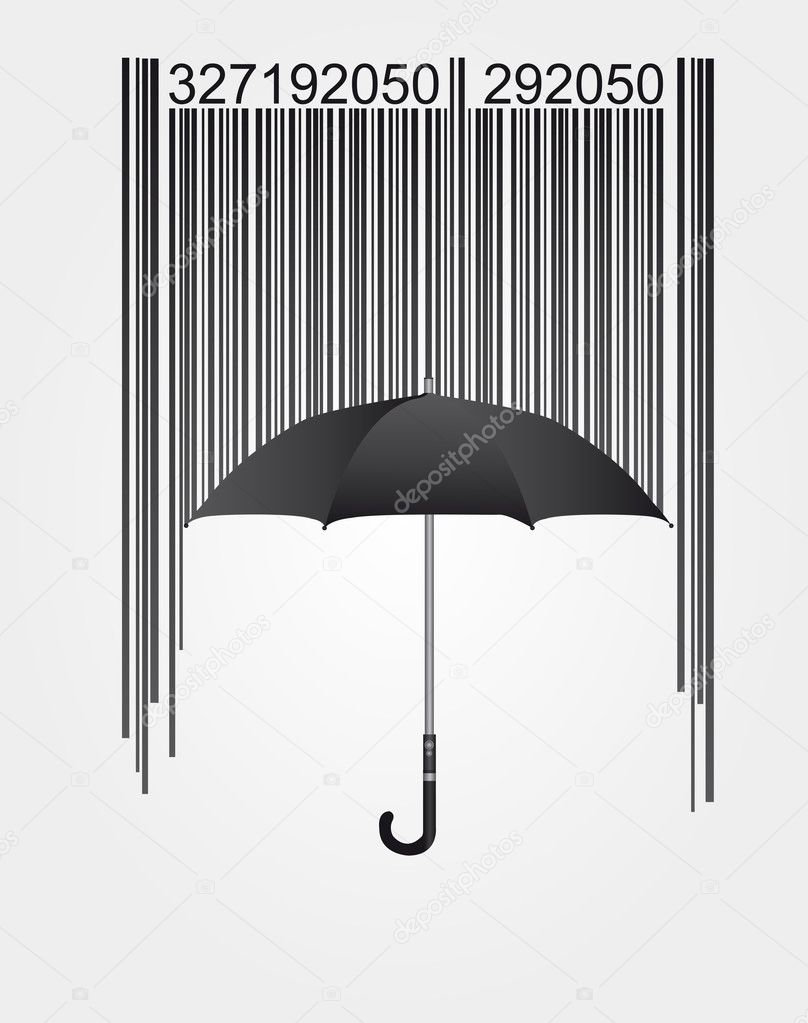 Black barcode and umbrella isolated over white background. vector — Stock Vector #6366105