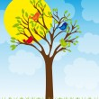 Royalty-Free Stock Vector Image: Cute tree and birds
