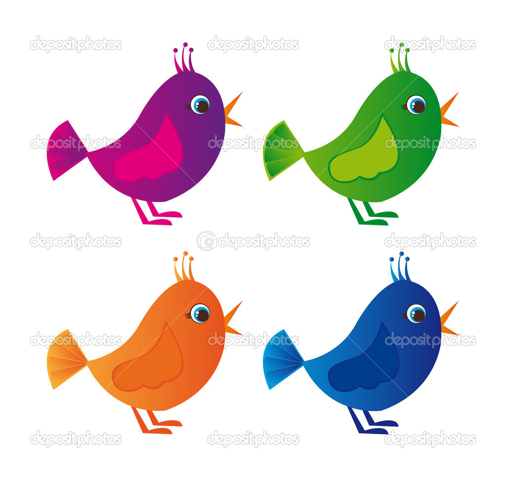 Violet,green, orange, blue colorful birds isolated over white background  Stock Vector #6377664