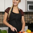 Gorgeous Blond Preparing Healthy Food — Stock Photo