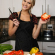 Gorgeous Blond Preparing Vegetables — Stock Photo #5836443