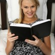 Gorgeous Blond Girl Reading Diary — Stock Photo