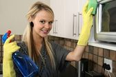 Happy Housewife Cleaning Kitchen — Stock Photo
