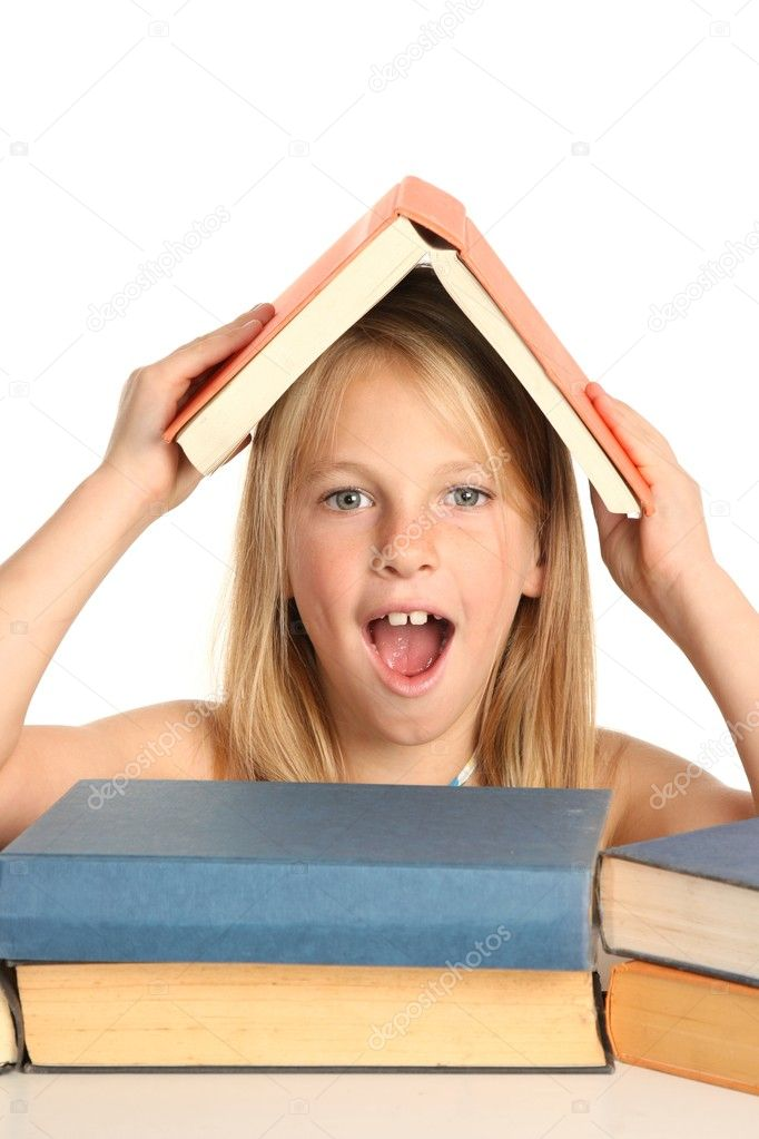 Pretty Preteen Girl with Books - Stock Image