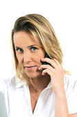 Speaking on a cellphone — Stock Photo