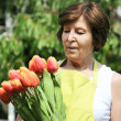 Tulips woman — Stock Photo