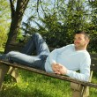 Park relaxed man — Stock Photo