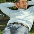 Park relaxed man - Stock Photo