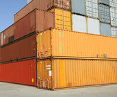 Cargo freight containers at harbor terminal — Stock Photo