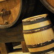 Natural wood wine golden barrel cellar - Stock Photo