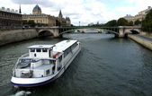Boat on River Seine — Stock Photo