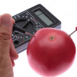 Use the multimeter to meterage a Battery. - Stock Photo