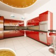 Interior design of modern kitchen 3d render — Stockfoto