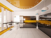 Interior design of modern kitchen 3d render — Stock Photo