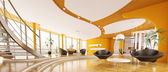 Interior design of modern apartment panorama 3d render — Stock Photo