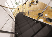 Metal staircase with black steps 3d render — Stock Photo