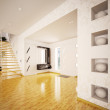 Modern interior of hall with staircase 3d render — Stock Photo #5452692