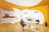 Interior of dining room and kitchen 3d render — Stock Photo