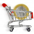 Shopping cart with euro coin — Stock Photo