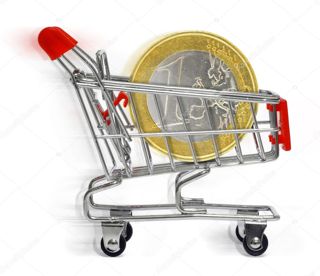 Moving shopping cart with euro coin on white background — Stock Photo #5743035